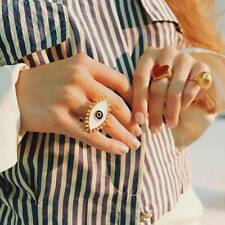 Evil Eyes Big Charm Gothic Gold Finger Rings Fashion Women Statement Jewelry
