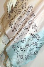 100% Pure Silk Hand Embroidered Ombre Dyed Nakshi Kantha Scarf Stole Wrap Shawl