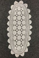 "100% Cotton White Color Handmade Crochet Lace 15x33"" Table Runner Placemat Oval"
