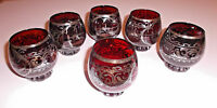 EXOTIC ASIAN RUBY GLASSWARE Six 4oz Rounded Cordial Apertif Glasses