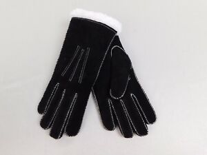 Isotoner Suede Moccasin Stitch MicroLuxe Lined Winter Gloves Black Medium #6092