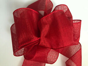 """Luxury Extra Wide Wire-Edged RIBBON Red with Shimmery Stripes 6.3cm/2.5"""" wide"""