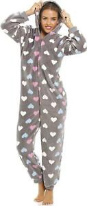 Camille Womens Multi Coloured Heart Print Supersoft Grey All In One Pyjamas