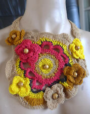 HANDMADE ART NECKLACE CROCHETED MULTI COLOR THREADS AND WOODEN BEADS FROM ARTIST