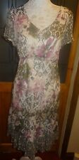 LOVLEY PRINT SHORT SLEEVE SATIN LINED DRESS+TIERED SKIRT SIZE 16 BNWOT