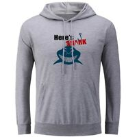 Here's Shark Fishing Print Sweatshirt Unisex Hoodies Graphic Hoody Hooded Tops