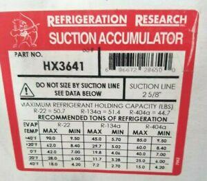 REFRIGERATION RESEARCH HX3641 SUCTION ACCUMULATOR HEAT EXCHANGER