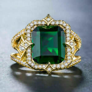 2Ct Emerald Cut Green Emerald Halo Women's Engagement Ring 14K Yellow Gold Over