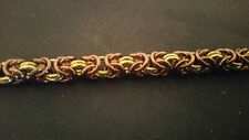 Bronze and Gold Anodized Aluminum Byzantine Chain mail Bracelet