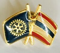 Thailand Twin Flags Rotary International Club Pin Badge Rare Vintage(C3)