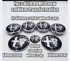 7x Alfa Romeo 4x60mm Radkappen 40mm Lenkradkappe 74mm VORNE+HINTEN Emblem