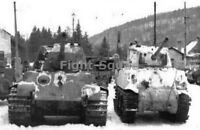 WW2 Picture Photo 1944 German Tiger II side by side with Sherman 75mm tank 2949