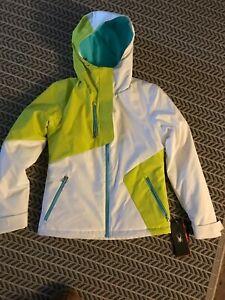 New Women's Spyder Avery Snow Ski Jacket White Acid Freeze XS