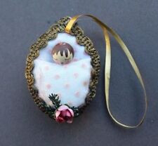 Vtg 1980's Baby Girl Sleeping In A Almond Shell Christmas Tree Ornament