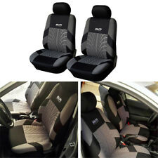 2 PCS  Zone Tech Thickening embroidery front car seat cover Gray & Black Washabl