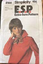 Vintage Simplicity Extra Sure Pattern 8166 Misses' Pullover Top sz 8,10,12 Uncut