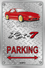 Parking Sign Metal Mazda RX7 Series 4 - Red with Gold Rims - Checkerplate Look