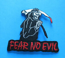 FEAR NO EVIL GRIM REAPER WITH SCYTHE BIKER IRON ON PATCH