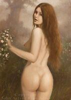 NUDE FEMALE EROTIC NATURE CLASSICAL ART. ORIGINAL OIL PAINTING by JOHN SILVER