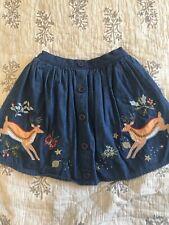 mini boden girls embroidered denim chambray skirt 7-8yr