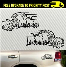 LandCruiser for toyota ute 80 100 200mm 4x4 PAIR hog pig boar stickers 200mm