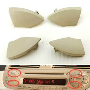 4pcs-For Fiat 500 Radio Cd Button Buttons Trim Beige Mould Cover Removal Durable