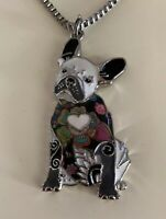 "French Bulldog Enamel Cloisonne 21.5"" Silver Tone Necklace"