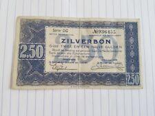Nederland , Zilverbon 2,5 gulden 1938 , serie DG 936455