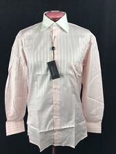 TYNER-SHORTEN Men's Cotton Dress Shirt Rose Pink + White Stripe, Size 15 R NWT