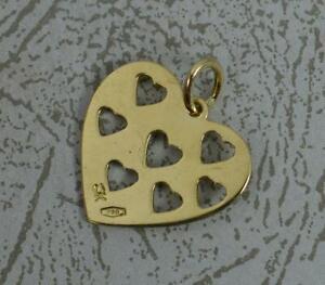 18 Carat Yellow Gold Pierced Heart Pendant or Charm