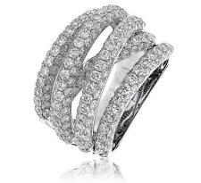 Diamond Chunky Wedding Ring 15mm Wide Band 5.00ct F VS Pave in 18ct White Gold