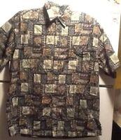 Cooke Street Honolulu Hawaiian Dark Leaves Short Sleeve Shirt Size L 100% Cotton