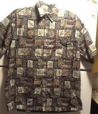 Cooke Street Honolulu Hawaiian Dark Leaves Short Sleeve Shirt Size L 100% Cotton