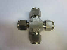 "Stainless Steel Union Cross Fitting 1/2"" Tube OD compatible SS-810-4"