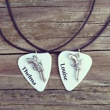 Thelma and Louise pistol gun Charm Guitar Pick best friends matching Necklaces