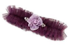 Pink or Plum Tulle Flower Garter Bridal Garter Prom Garters