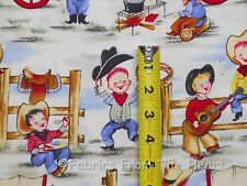 Lil Cowpokes Western Cowboys Rodeo Kids Guitar Dogs Michael Miller BY YDS Fabric