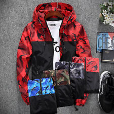 Mens Camo Windproof Waterproof Hiking Hooded Coat Zip Up Jacket Outwear Raincoat