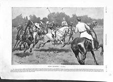Le polo sport d'équipe équestre cavalier chevaux Westchester Cup UK GRAVURE 1903