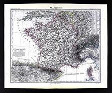 1882 Stieler Map - France  Spain Switzerland Corsica Paris Marseilles Riviera