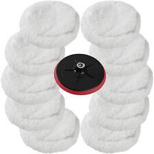 10 Woolen Fleece 220mm + Disc For Car Polisher Sander Polishing Machine Buffing