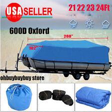 600D 21-24 Ft Waterproof Heavy Duty Fabric Trailerable Pontoon Boat Cover Blue