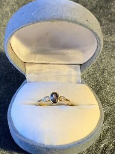 VINTAGE 9ct SOLID YELLOW GOLD AMETHYST RING Size 6 Marked 375