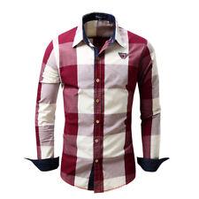 New Men's Fashion Casual Long Sleeves Formal Dress Check Tops Shirts TSC6429