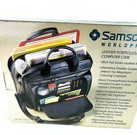 Samsonite Black Business Laptop Leather Portfolio Computer Case Briefcase Bag