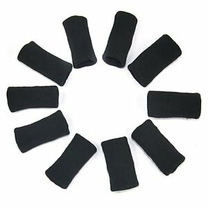 10 x Black Stretchy Finger Protector Sleeve Support Arthritis Sports Aid