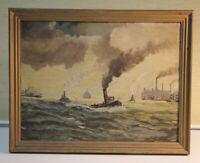 V. BUNZEL Ölgemälde Hamburger Hafen 1932