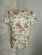Women's cream floral butterfly short sleeve cotton fitted top Oasis size 10
