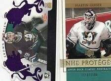 2-martin gerber anaheim ducks rc card lot 2002/03 ud classic 103 crown royale #d