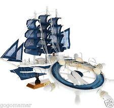 """9"""" Blue Sailing boat model Wood Boat Ship Wheel #C SET Nautical Decoration"""